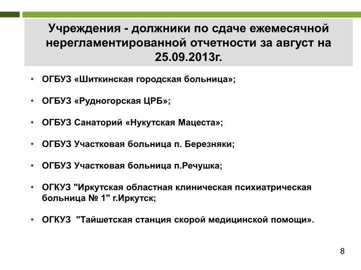 Учреждения - должники по сдаче ежемесячной нерегламентированной отчетности за август на 25.09.2013г.