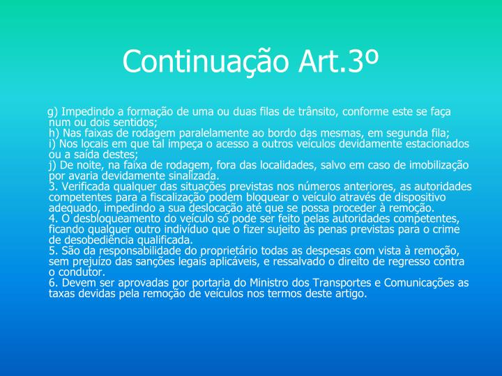 Continuação Art.3º