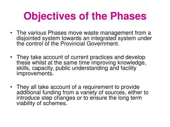 Objectives of the Phases