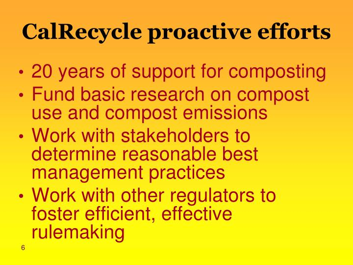 CalRecycle proactive efforts