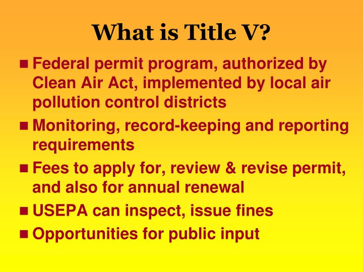 What is Title V?