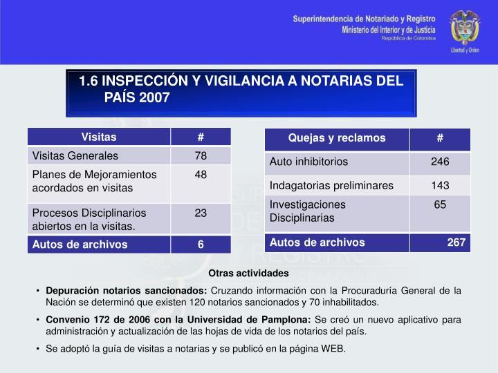 1.6 INSPECCIÓN Y VIGILANCIA A NOTARIAS DEL PAÍS 2007