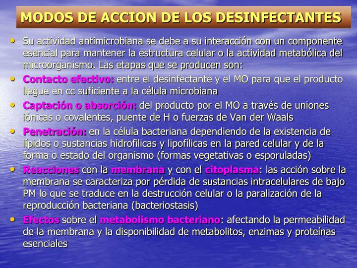 MODOS DE ACCION DE LOS DESINFECTANTES