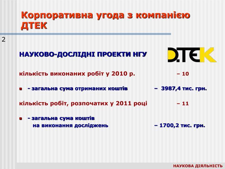 Корпоративна угода з компанією ДТЕК
