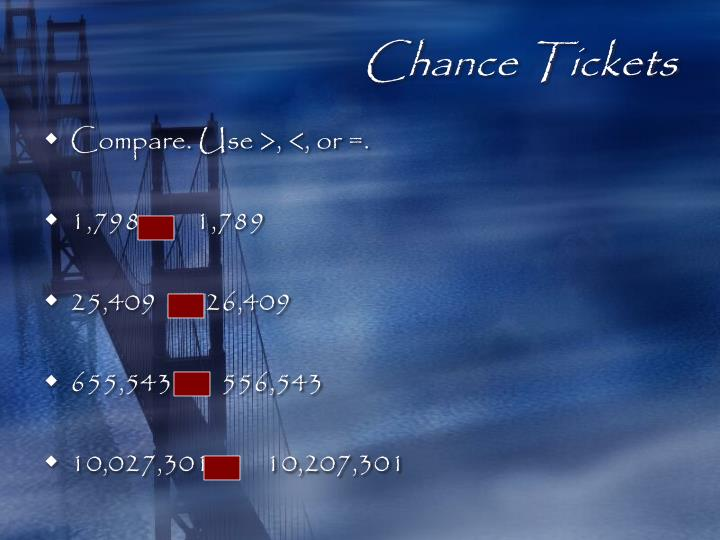 Chance Tickets