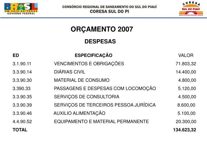 ORÇAMENTO 2007