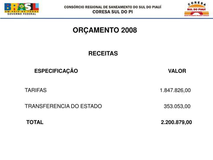 ORÇAMENTO 2008