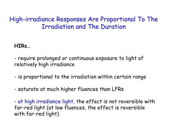 High-irradiance Responses Are Proportional To The Irradiation and The Duration