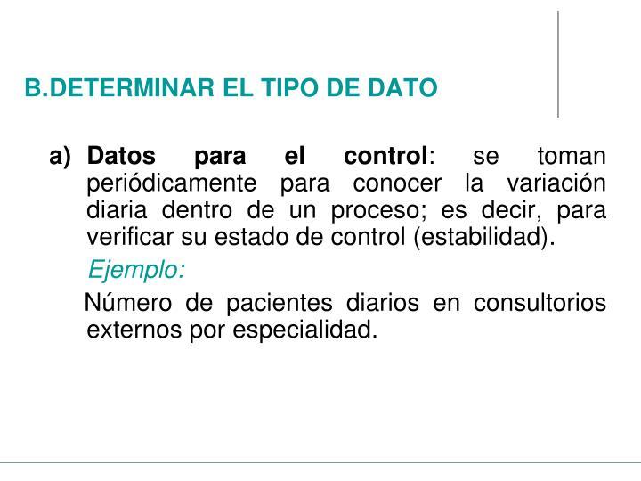 Datos para el control