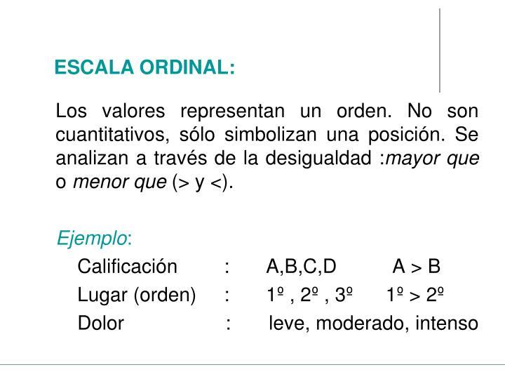 Los valores representan un orden. No son cuantitativos, sólo simbolizan una posición. Se analizan a través de la desigualdad :
