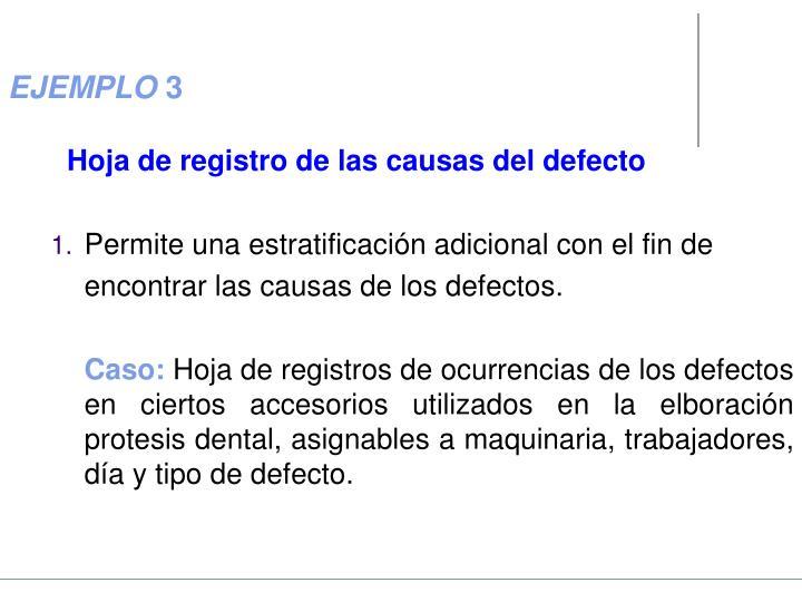 Hoja de registro de las causas del defecto