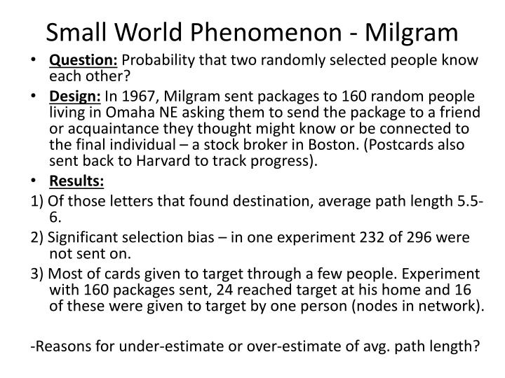 Small world phenomenon milgram