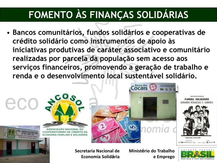 FOMENTO ÀS FINANÇAS SOLIDÁRIAS