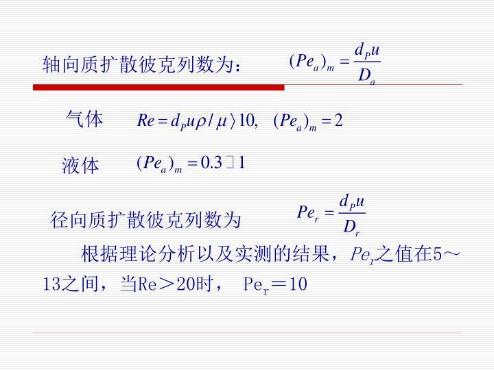 轴向质扩散彼克列数为: