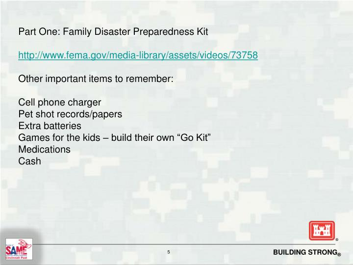 Part One: Family Disaster Preparedness Kit