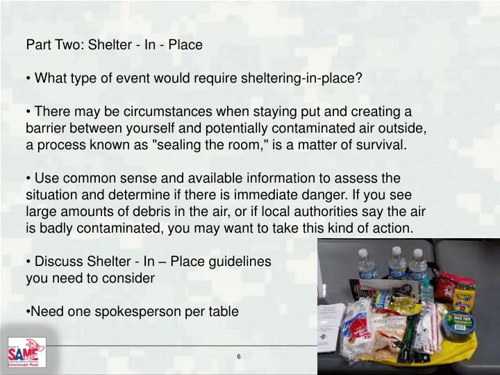 Part Two: Shelter - In - Place