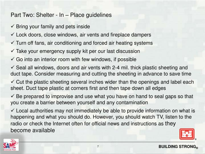 Part Two: Shelter - In – Place guidelines
