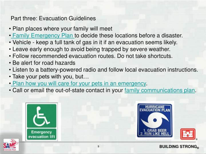 Part three: Evacuation Guidelines
