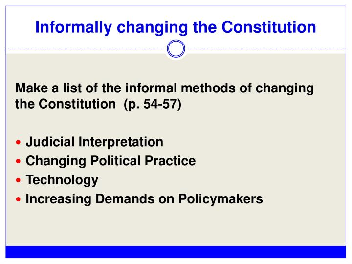 Informally changing the Constitution