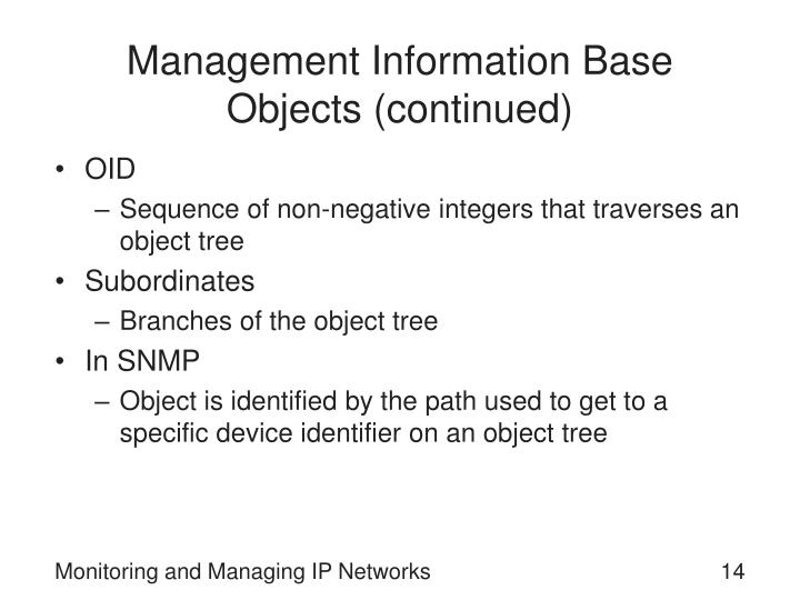 Management Information Base Objects (continued)