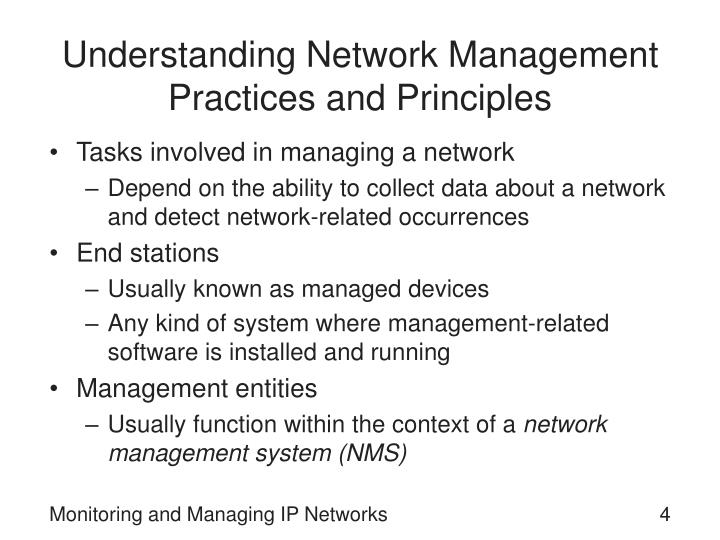 Understanding Network Management Practices and Principles