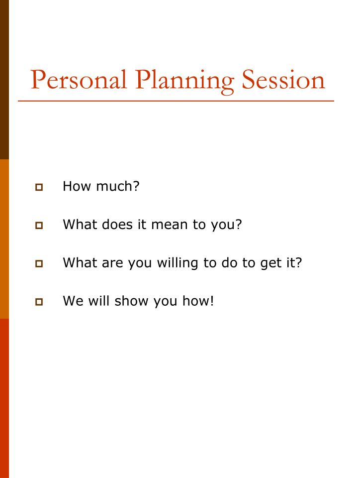 Personal Planning Session