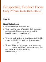 prospecting product focus using 3 rd party tools dvd cd etc
