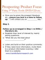 prospecting product focus using 3 rd party tools dvd cd etc1