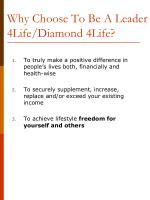 why choose to be a leader 4life diamond 4life