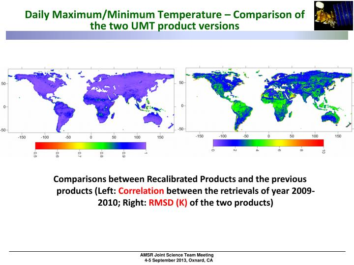 Daily Maximum/Minimum Temperature – Comparison of the two UMT product versions