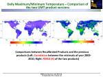 daily maximum minimum temperature comparison of the two umt product versions