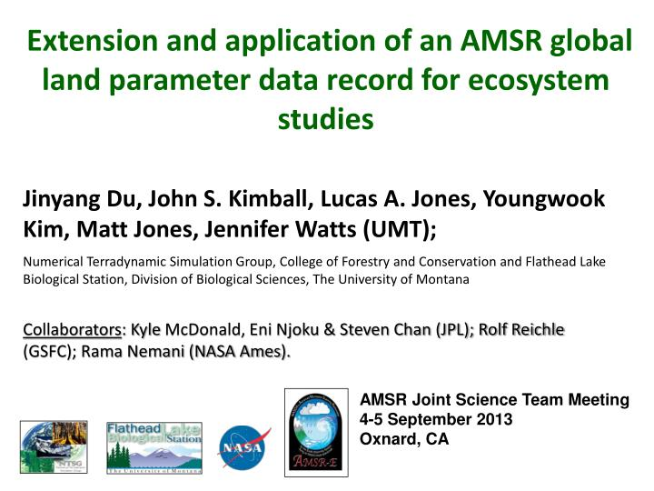 Extension and application of an AMSR global land parameter data record for ecosystem studies