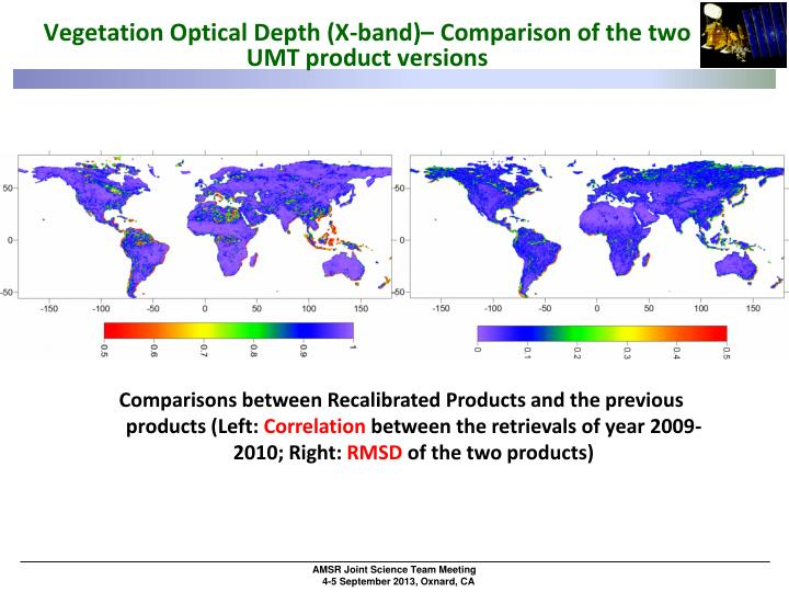 Vegetation Optical Depth (X-band)– Comparison of the two UMT product versions