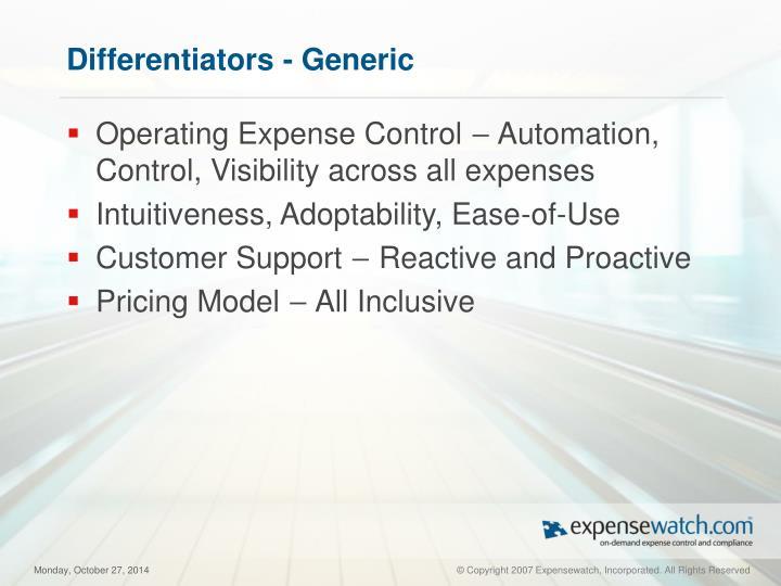 Differentiators - Generic