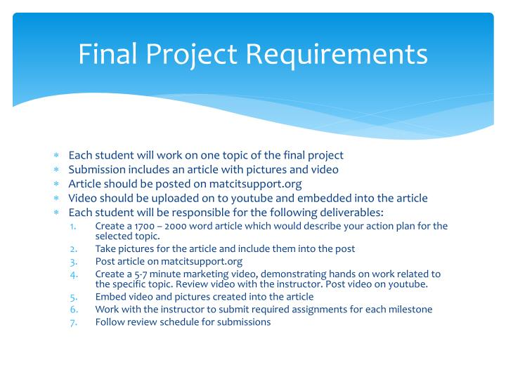 Final project requirements