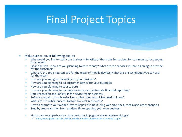 Final Project Topics