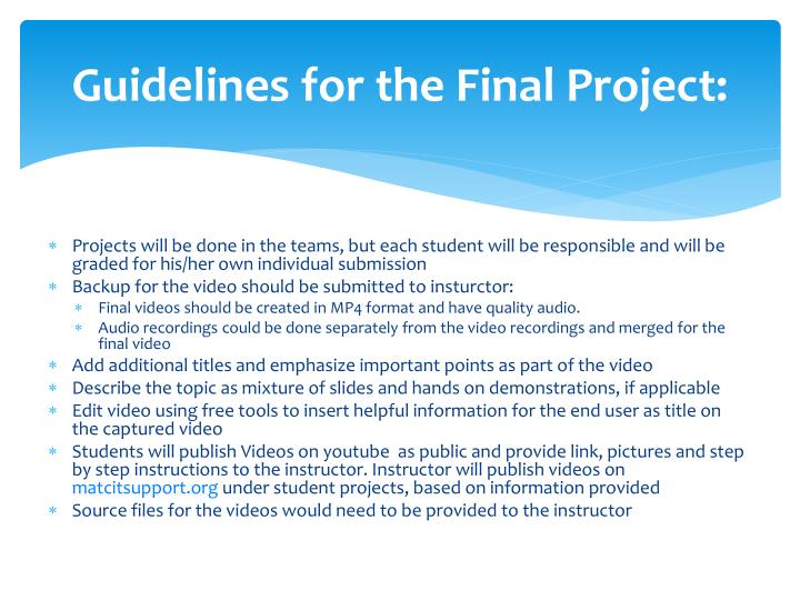 Guidelines for the