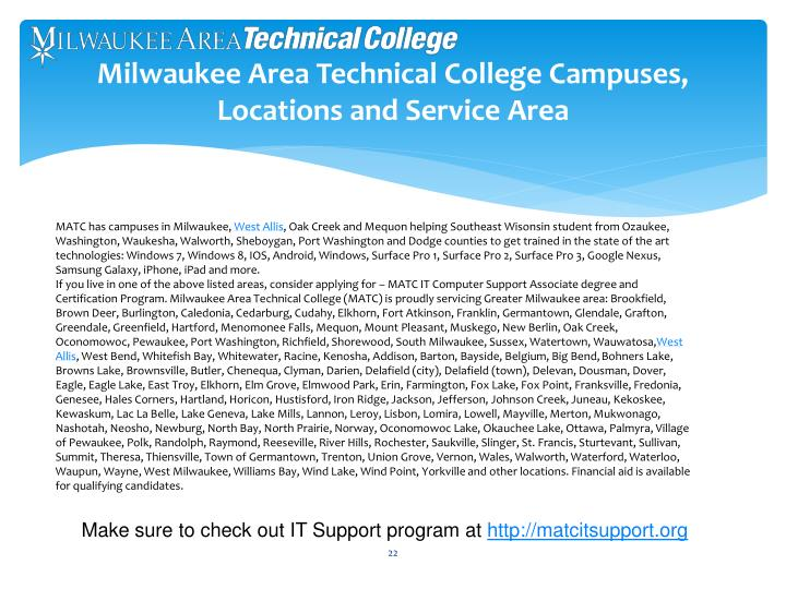 Milwaukee Area Technical College Campuses, Locations and Service Area