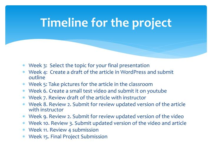 Timeline for the project
