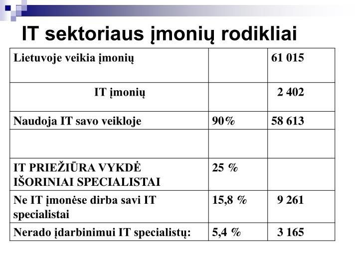 IT sektoriaus įmonių rodikliai