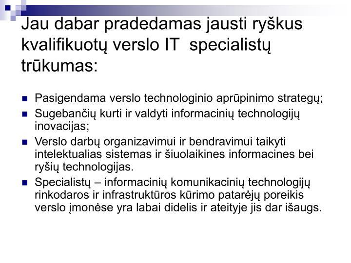 Jau dabar pradedamas jausti ryškus kvalifikuotų verslo IT  specialistų trūkumas: