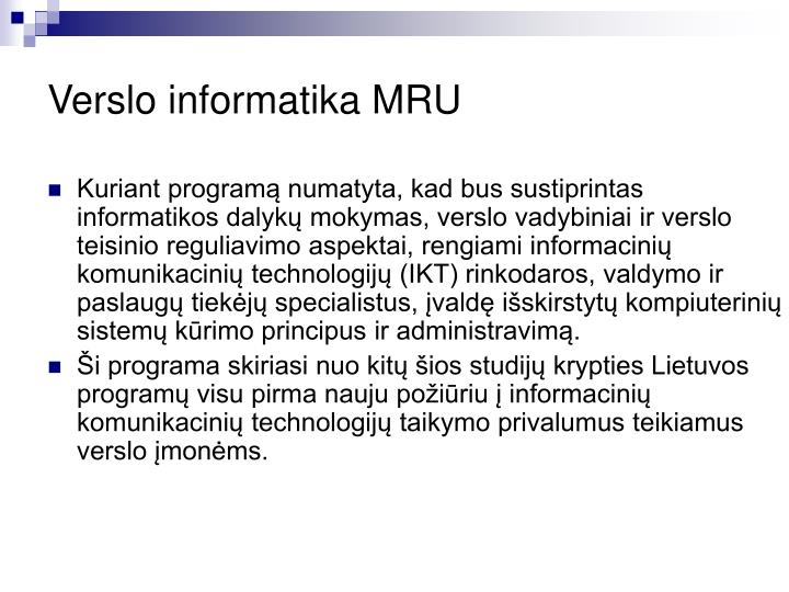 Verslo informatika MRU