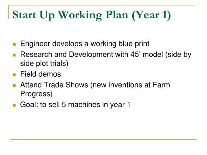 Start Up Working Plan (Year 1)