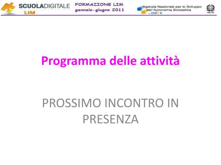Programma delle attività