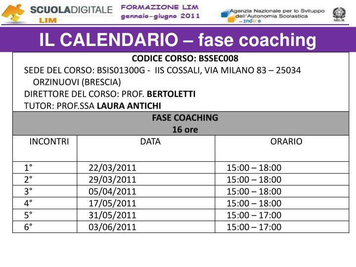 IL CALENDARIO – fase coaching