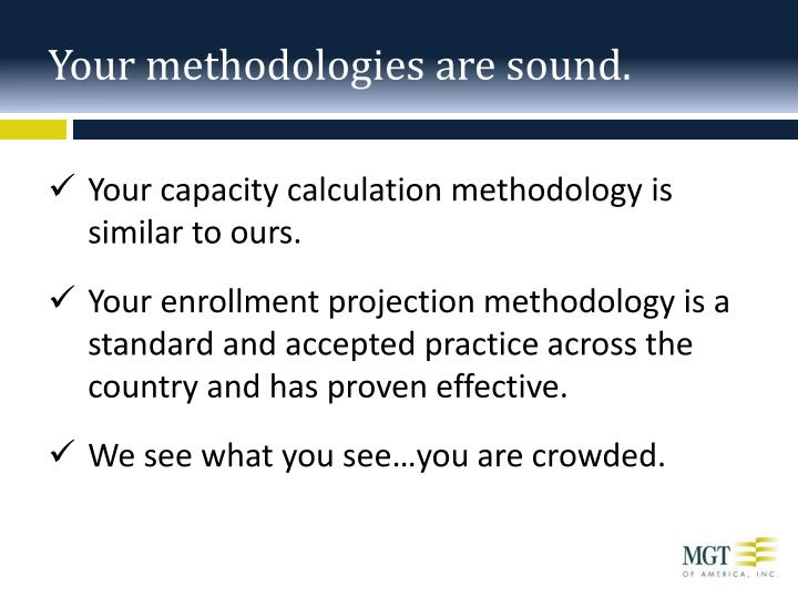 Your methodologies are sound.