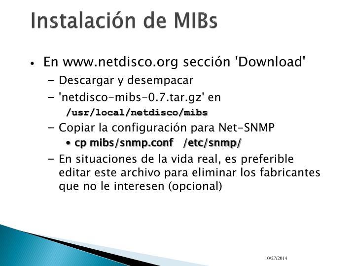Instalación de MIBs