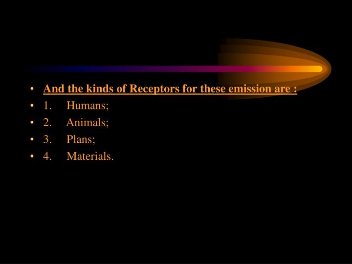 And the kinds of Receptors for these emission are :