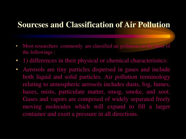Sourcses and Classification of Air Pollution