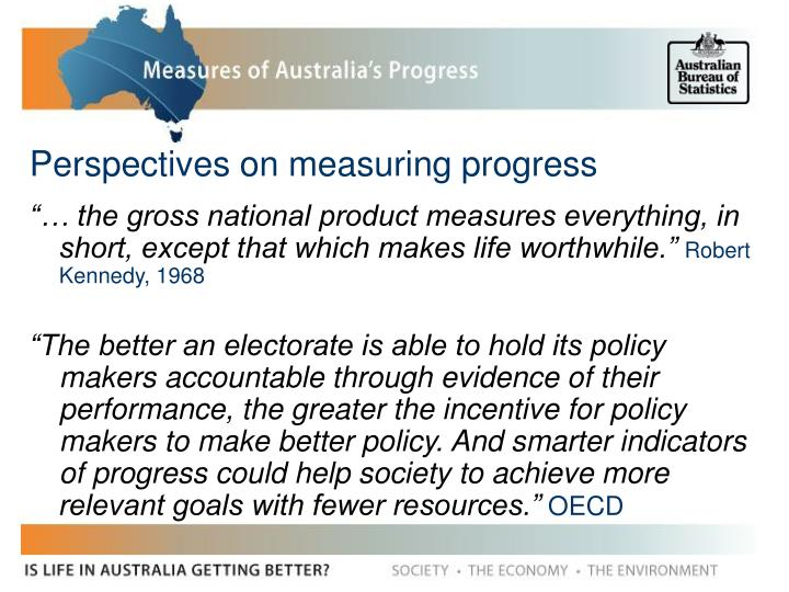 Perspectives on measuring progress